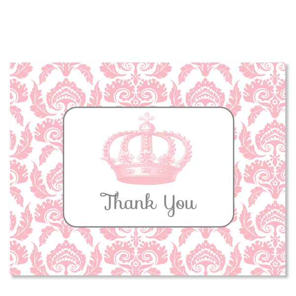Vintage Princess Party Folded Thank You Card | Swanky Press | Pink