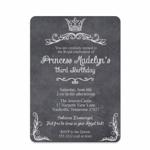 Princess Chalkboard Party Birthday Invitation | Swanky Press | Front