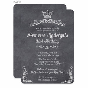 Princess Chalkboard Party Birthday Invitation | Swanky Press