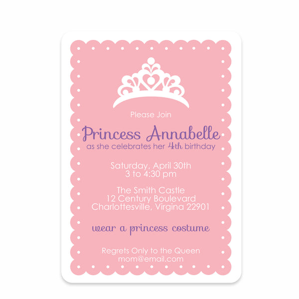 Princess Dress-up Party Birthday Invitation | Swanky Press | Front
