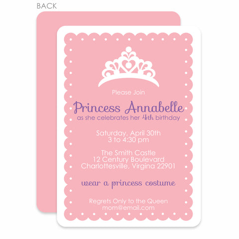Princess Dress-up Party Birthday Invitation | Swanky Press | Pink & Purple