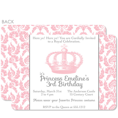 Vintage Princess Crown Party Birthday Invitation | Swanky Press | Pink