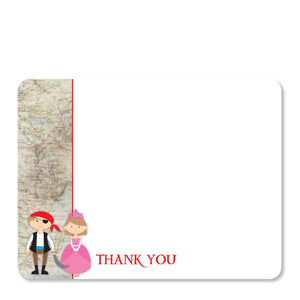 Princess and Pirate Flat Notecard | Swanky Press | Front