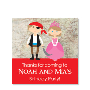 Princess and Pirate Favor Sticker | Swanky Press | Square