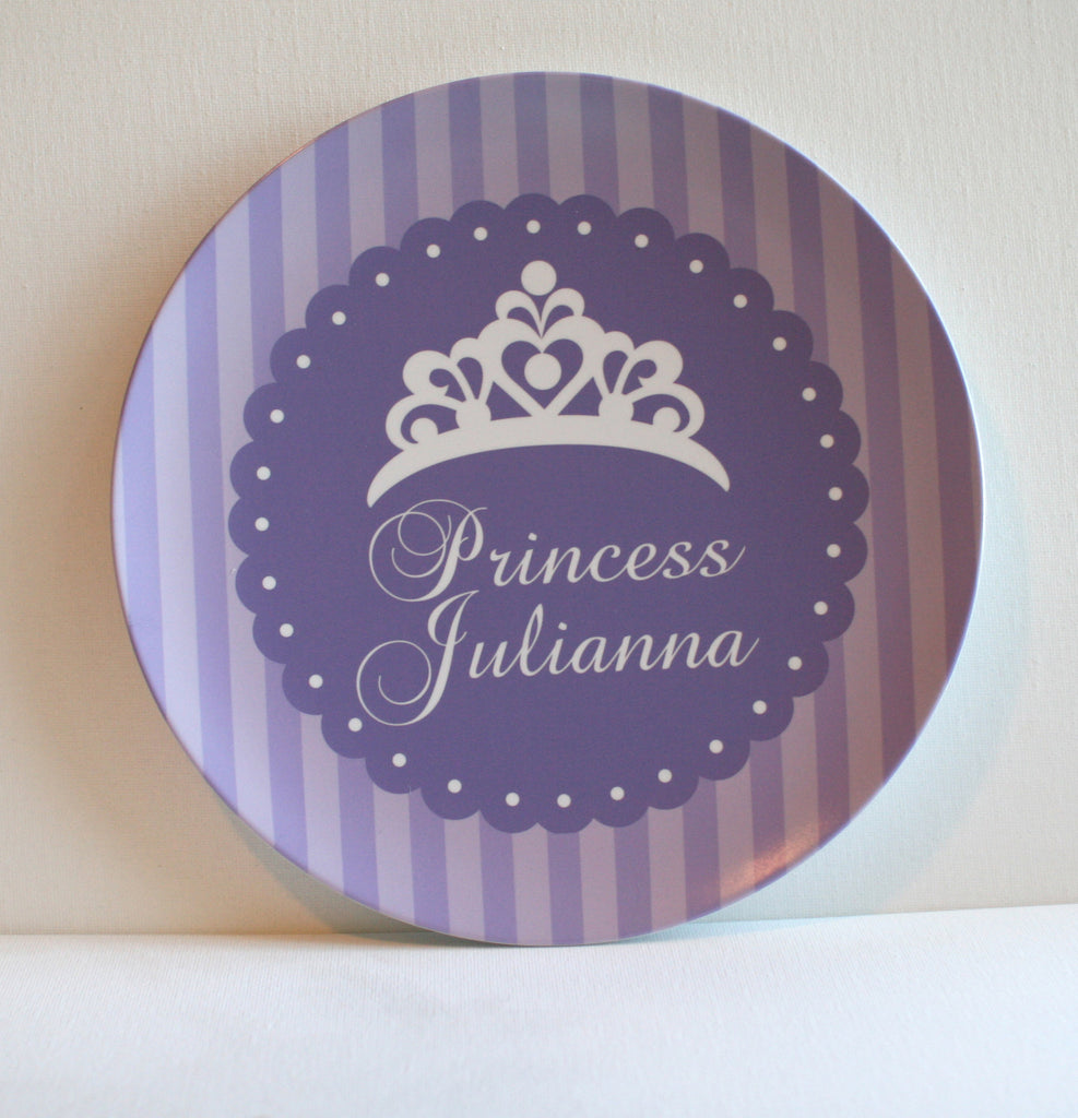 simple crown on purple striped background personalized melamine plate