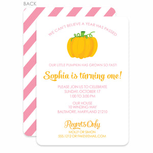 Pumpkin Party Birthday Invitation | Swanky Press | Pink