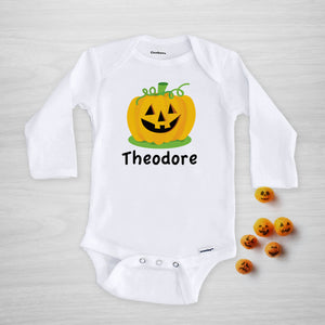 Jack O'Lantern Pumpkin Personalized Onesie, long sleeved, Halloween, Pipsy.coom