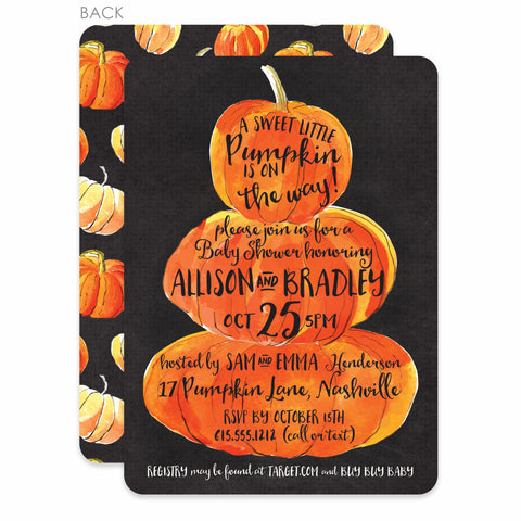 Watercolor Pumpkin Baby Shower Invitation | Swanky Press