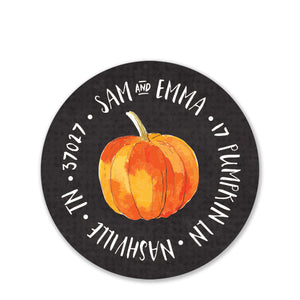 Watercolor Pumpkin Stack Return Address Stickers (Printed)