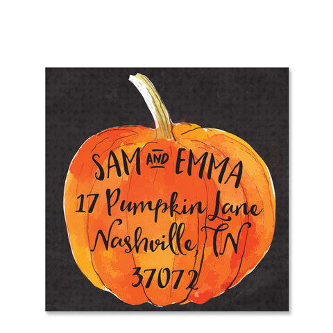 Watercolor Pumpkin Return Address Sticker, Square