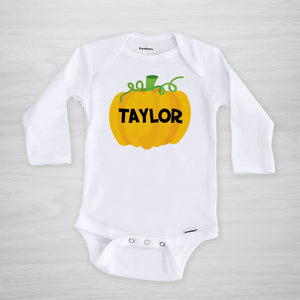 Personalized Pumpkin Gerber Onesie for Halloween, long sleeved