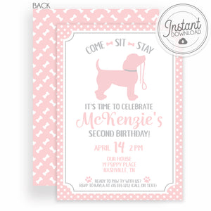 Puppy Party Birthday Invitation | Instant Download Editable | Templett Invitation | PIPSY.COM