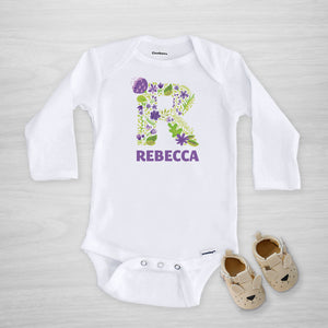 Purple Floral Initial Personalized Gerber Onesie, long sleeved