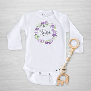 Purple Wreath Name Personalized Gerber Onesie, long sleeved