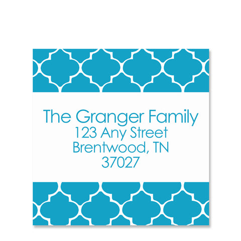 Blue Quatrefoil Return Address Sticker | Swanky Press