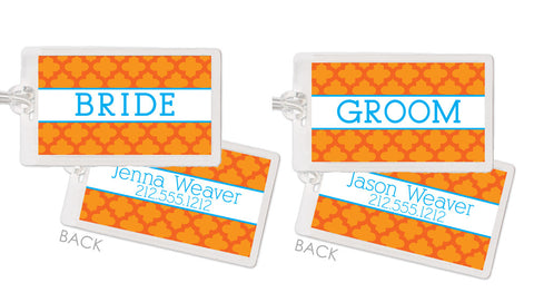 Quatrefoil tangerine honeymoon bag tags