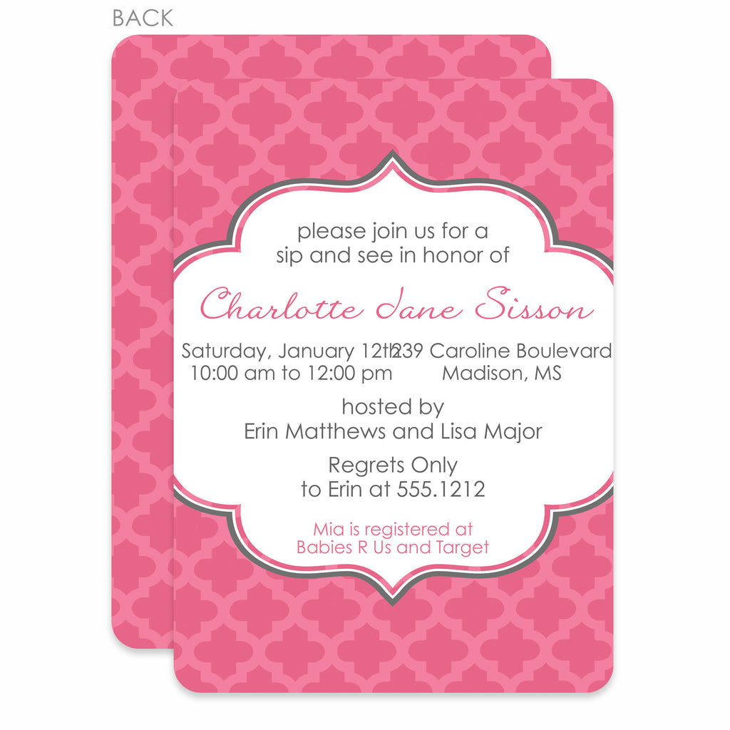 Quatrefoil Honeysuckle Baby Shower Invitation