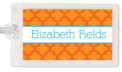 quatrefoil with tangerine luggage tag