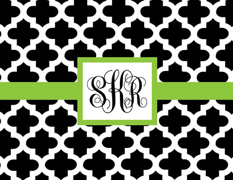Quatrefoil with monogram folded notecards