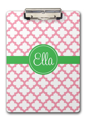 Pink quatrefoil with green name band clipboard