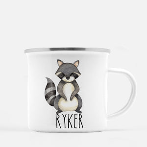 Raccoon Camp Mug, Personalized, Silver Lip