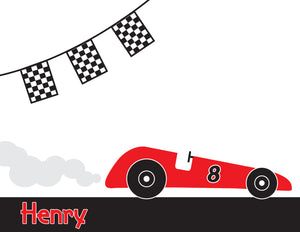 Red race car, checkered flags, black