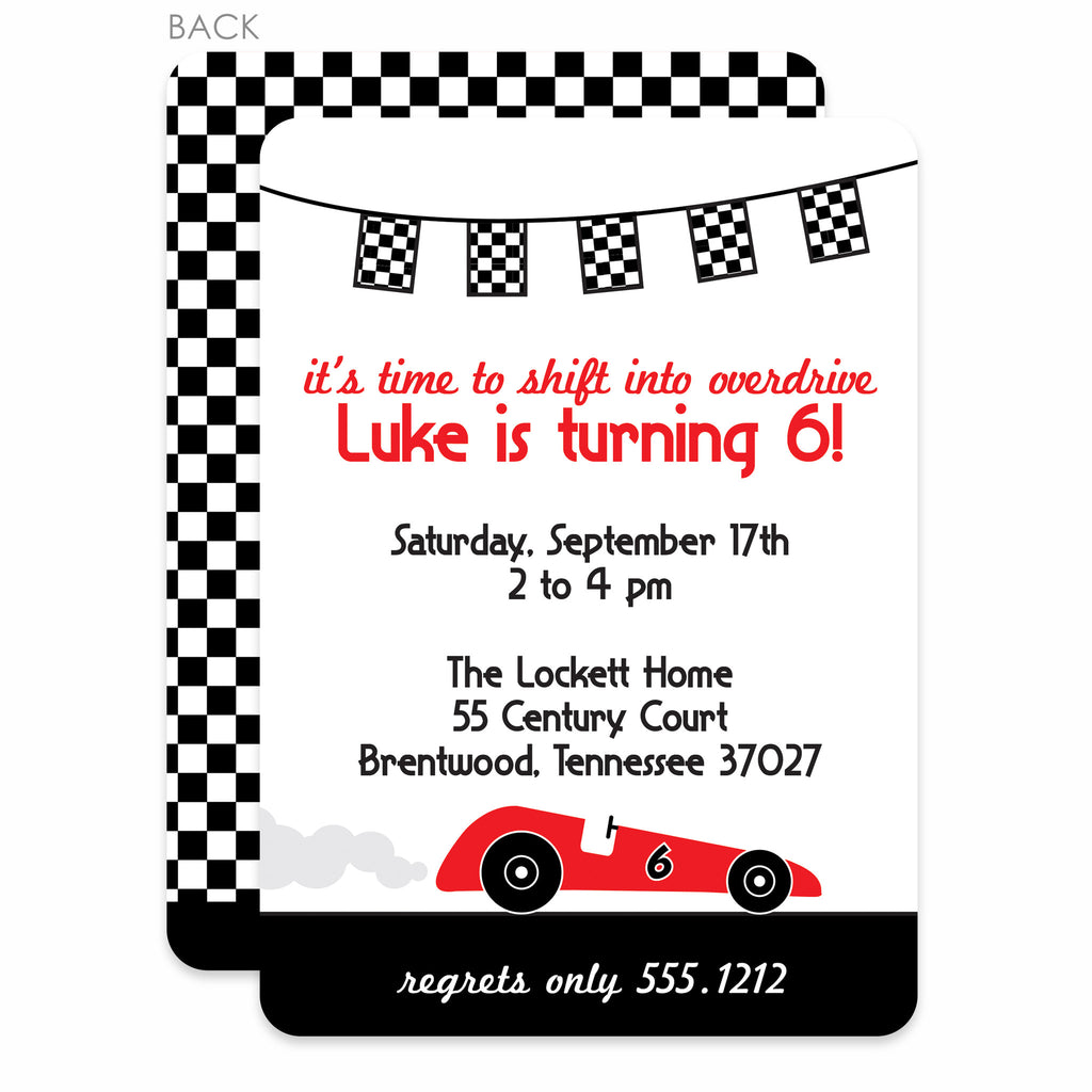 Race Car Party Birthday Invitation | Swanky Press | Black & Red