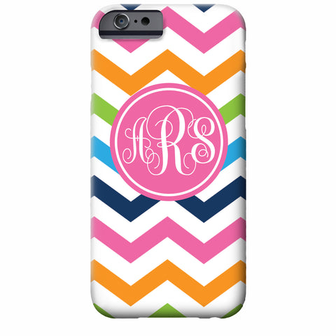 Rainbow Chevron Monogrammed iPhone Case | Swanky Press