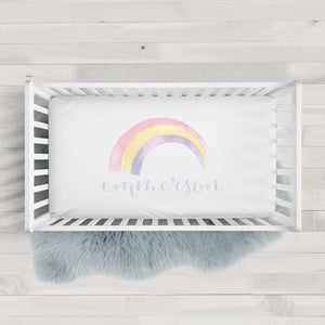 Watercolor Rainbow fitted crib sheet | Pipsy.com