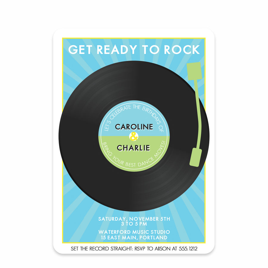Dance Record Party Birthday Invitation | Swanky Press | Joint Birthday