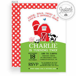 Red Barn Birthday Invitation with Gingham | DIY Instant Download Invitation |  Templett Invitation | PIPSY.COM