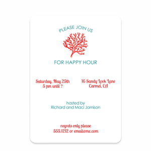 Red Coral Party Invitation | Swanky Press (front view)