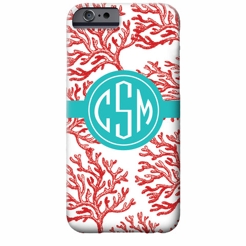 Monogrammed Red Coral iPhone Case | Swanky Press