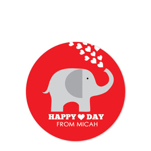 Elephant Valentine's Day Stickers - Red