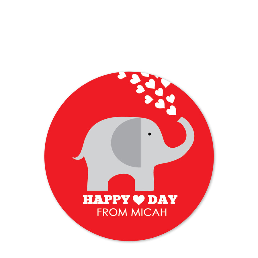 Elephant Valentine's Day Stickers, Red with Hearts, PIPSY.COM