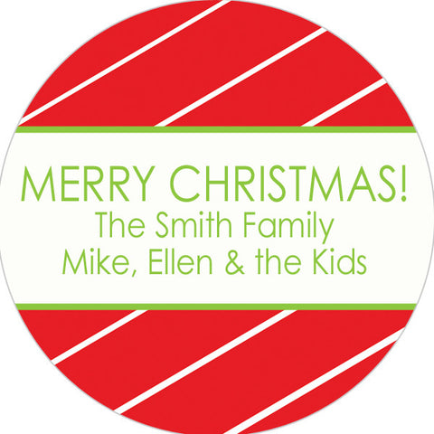 red pinstripe holiday sticker