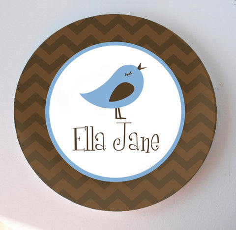 blue bird melamine plate personalized