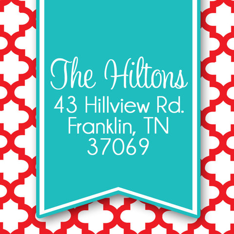 Quatrefoil aqua and red holiday return address sticker
