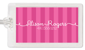Pink ribbons luggage tag