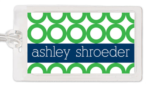 Rings bag tag in green with navy