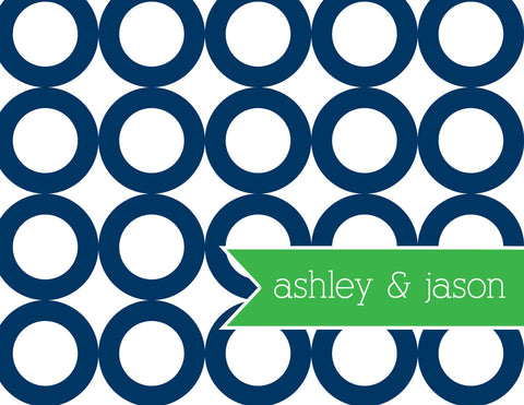 Green rings with navy banner for name folded notecards