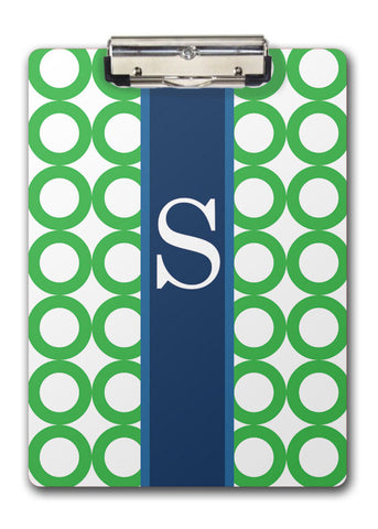 green rings with navy banner for large initial two-sided clipboards