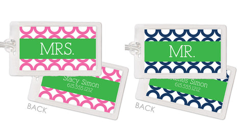Mr. and Mrs. Honeymoon Bag Tags in a modern ring pattern