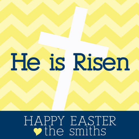 He is risen Easter gift tag in yellow and navy