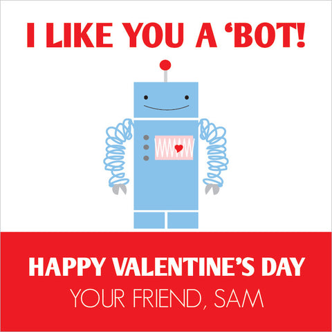 Robot Valentine's day gift tags in red and blue