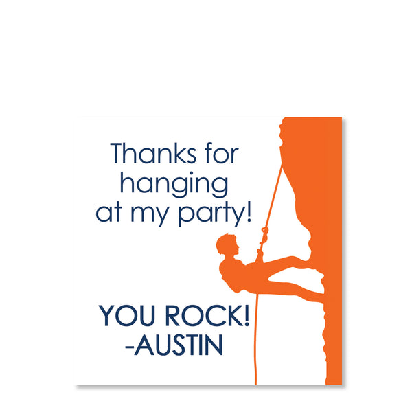 Rock Climbing Boy Favor Tags | Swanky Press (front view)