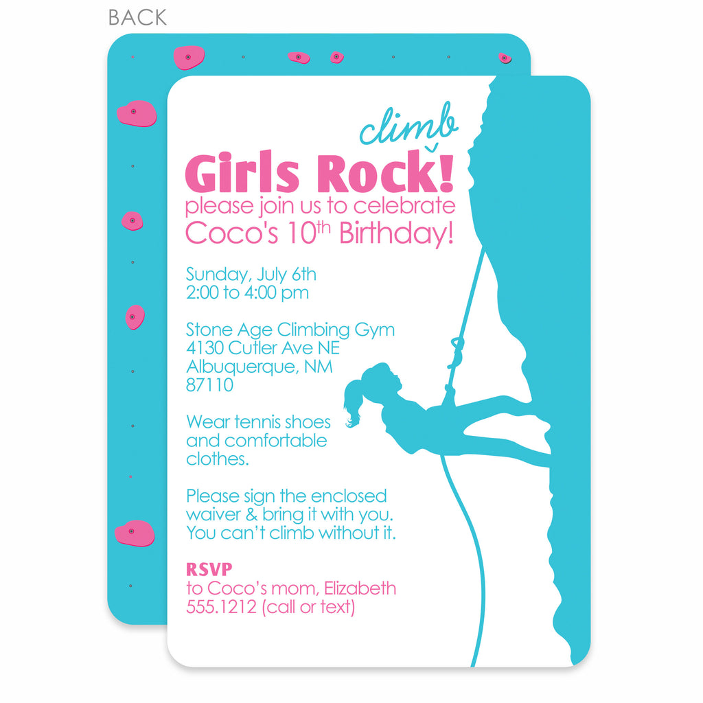 Rock Climbing Girl Birthday Invitation Printed Pipsy