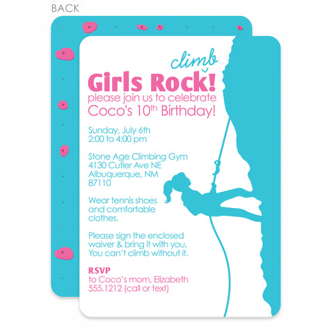 Rock Climbing Girl Invitation | Swanky Press