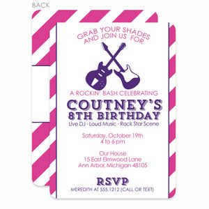 Rock Party Birthday Invitation | Swanky Press | Pink & Purple