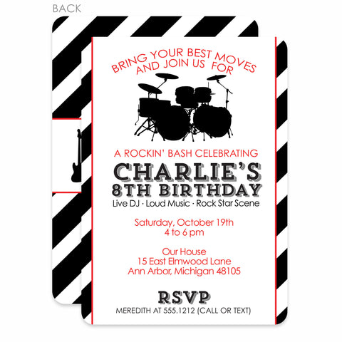 Rock Party Birthday Invitation | Swanky Press | Red & Black